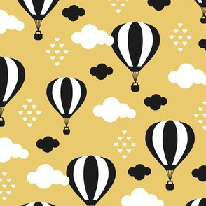Soft pastel summer clouds black and white hot air balloon and love sky scandinavian style illustration pattern yellow ochre