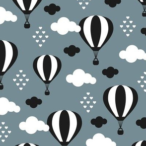 Soft pastel clouds black and white hot air balloon and love sky scandinavian style illustration pattern stone blue winter