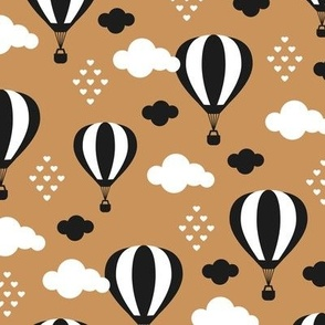 Soft pastel clouds black and white hot air balloon and love sky scandinavian style illustration pattern brown rust