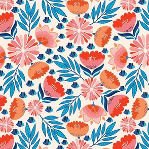 Pink Blue Flowers on Beige, Forest Jungle Flora, Bright and Happy