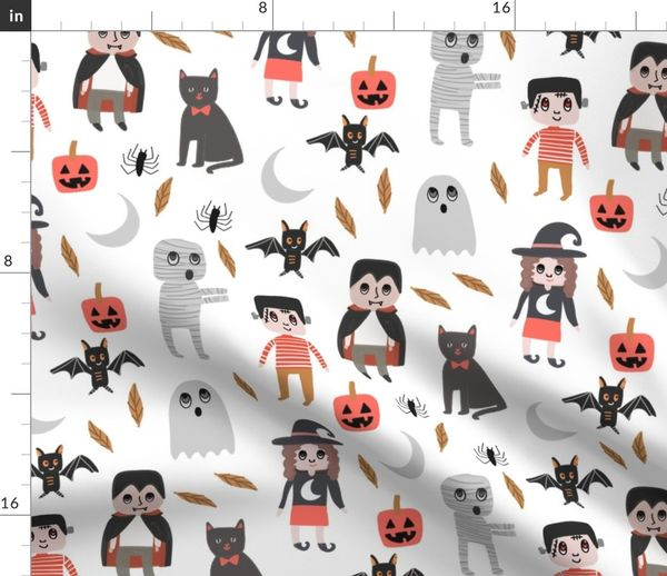 Fabric by the Yard Halloween town fabric, cute creepy scary Halloween  fabric, ghost fabric, witch fabric, cat fabric - white