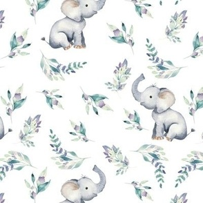 "7"" Cute baby elephants and flowers, elephant fabric, elephant nursery 1-1"