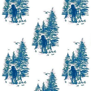 Bigfoot in the Woods - Green Navy Pink