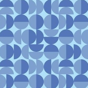 Blue Round Geometric Circles, Shades of Blue Rounds