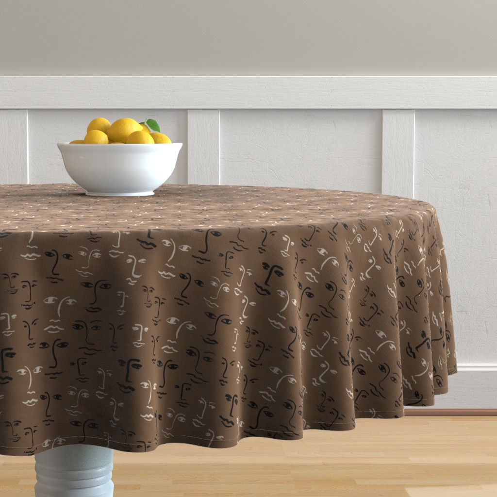 Malay Round Tablecloth featuring faces mixed - mocha by cinneworthington