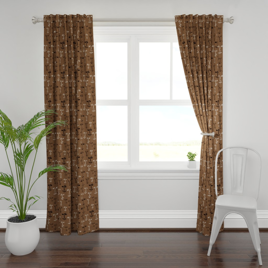 Plymouth Curtain Panel featuring faces mixed - dark mocha by cinneworthington