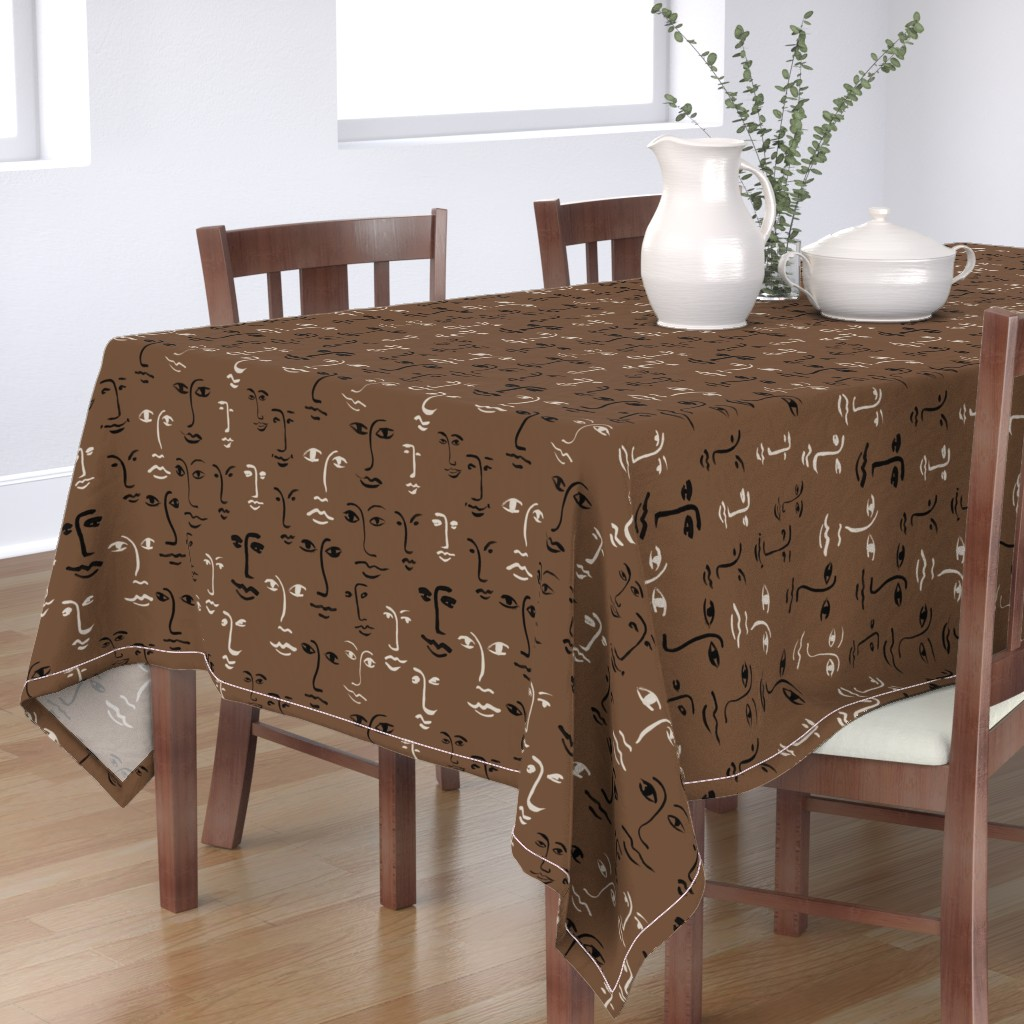 Bantam Rectangular Tablecloth featuring faces mixed - dark mocha by cinneworthington