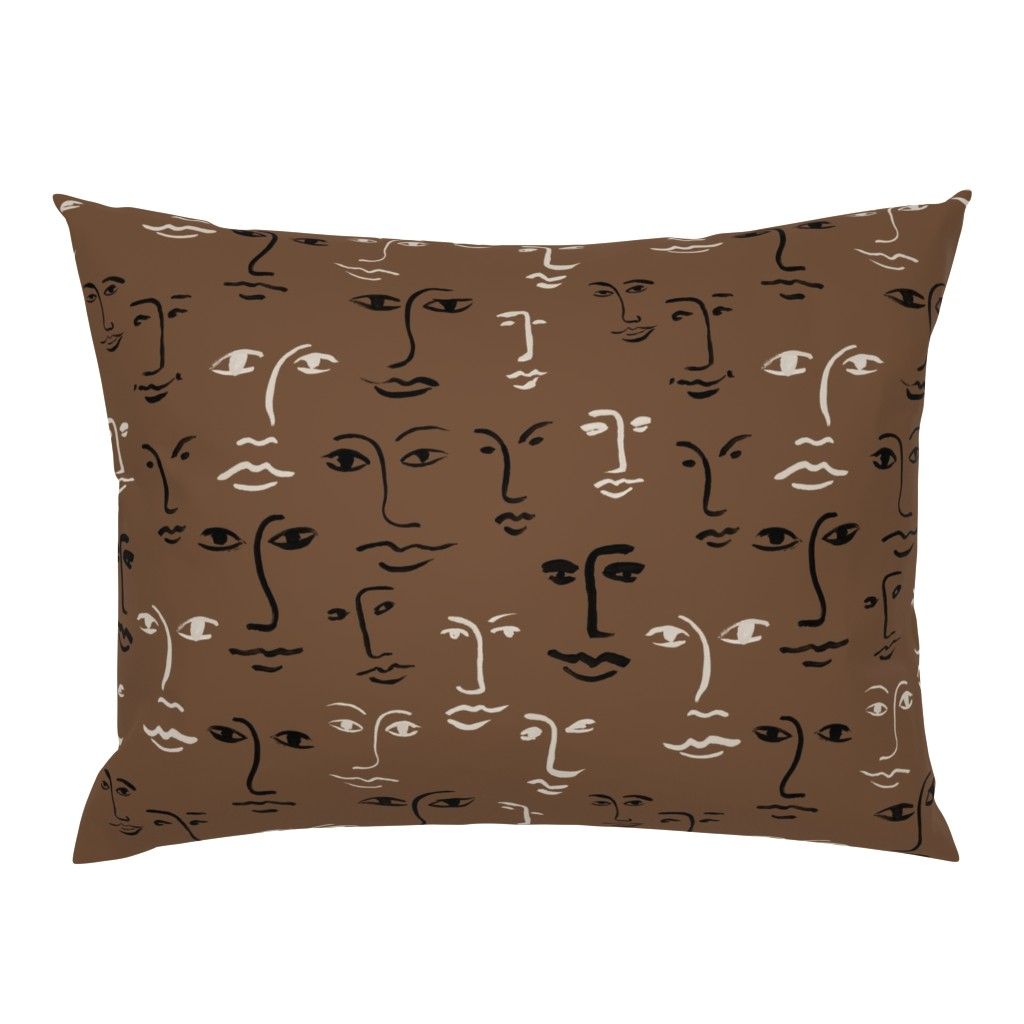 Campine Pillow Sham featuring faces mixed - dark mocha by cinneworthington