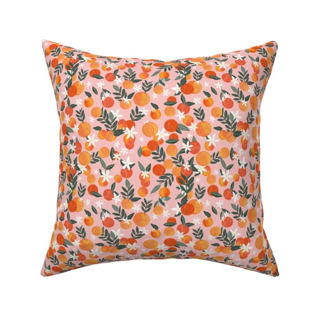 """Catalan Throw Pillow featuring 2"""" Happy Oranges Pink by miacharro"""