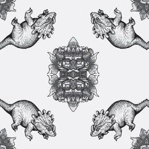 Gray triceratops dinosaur