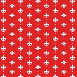 Simple White Fleur De Lis on Red