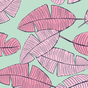 Lush leaves palm tree leaf garden tropical summer vibes and surf beach dreams mint green pink