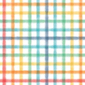 Watercolor Plaid - Rainbow