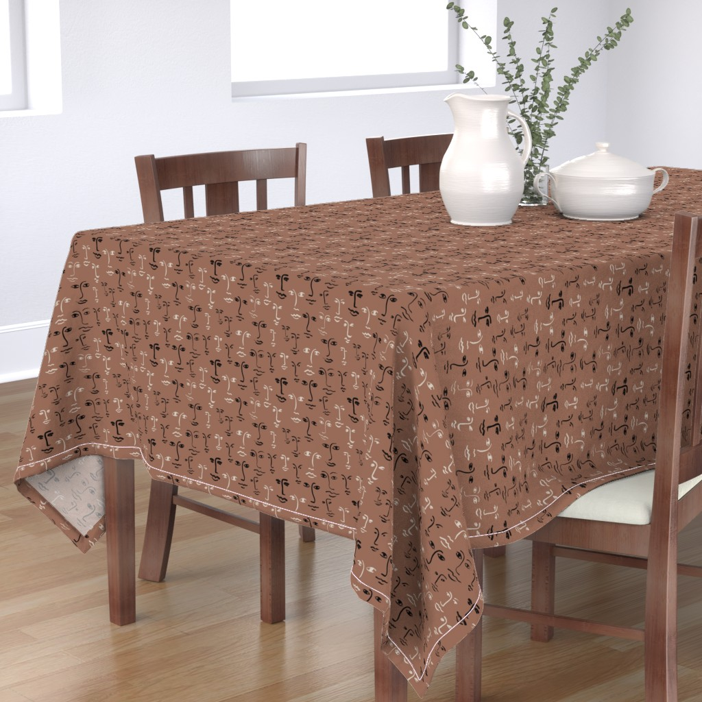 Bantam Rectangular Tablecloth featuring faces mixed - terra brown by cinneworthington