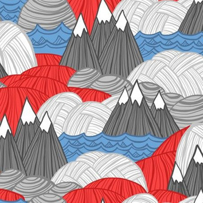 Rolling Landscape (Red, White & Blue)