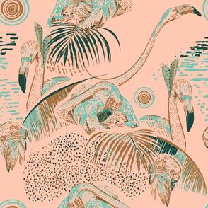Flamingos in linocut look Kreativkollektiv