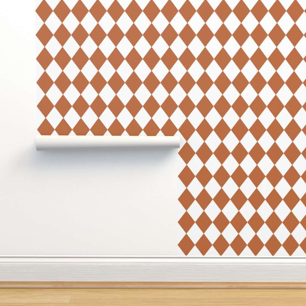 Isobar Durable Wallpaper featuring Hazel Brown Modern Diamond Pattern by paper_and_frill