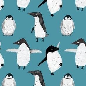 Winter penguin blue