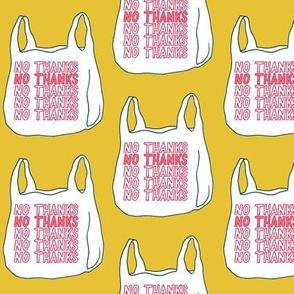 no thanks plastic bag - mustard