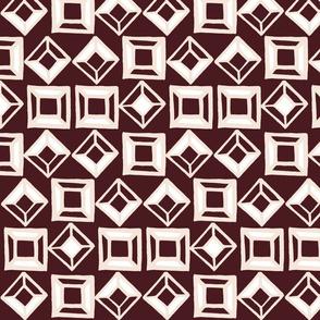 Aztec Geometic Shapes - Burgundy