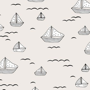 Summer sea little sailing boat and tiny ships and waves on water neutral nursery off white