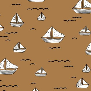 Summer sea little sailing boat and tiny ships and waves on water neutral nursery caramel white