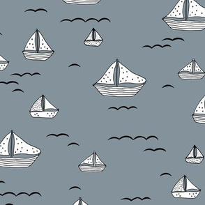 Summer sea little sailing boat and tiny ships and waves on water neutral nursery cool gray