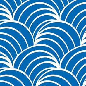 Art deco  blue geometric  Ocean Wave , Art Deco