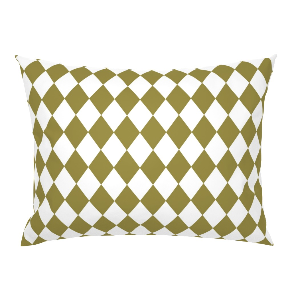 Campine Pillow Sham featuring  Green Olive Small Modern Diamond Pattern by paper_and_frill