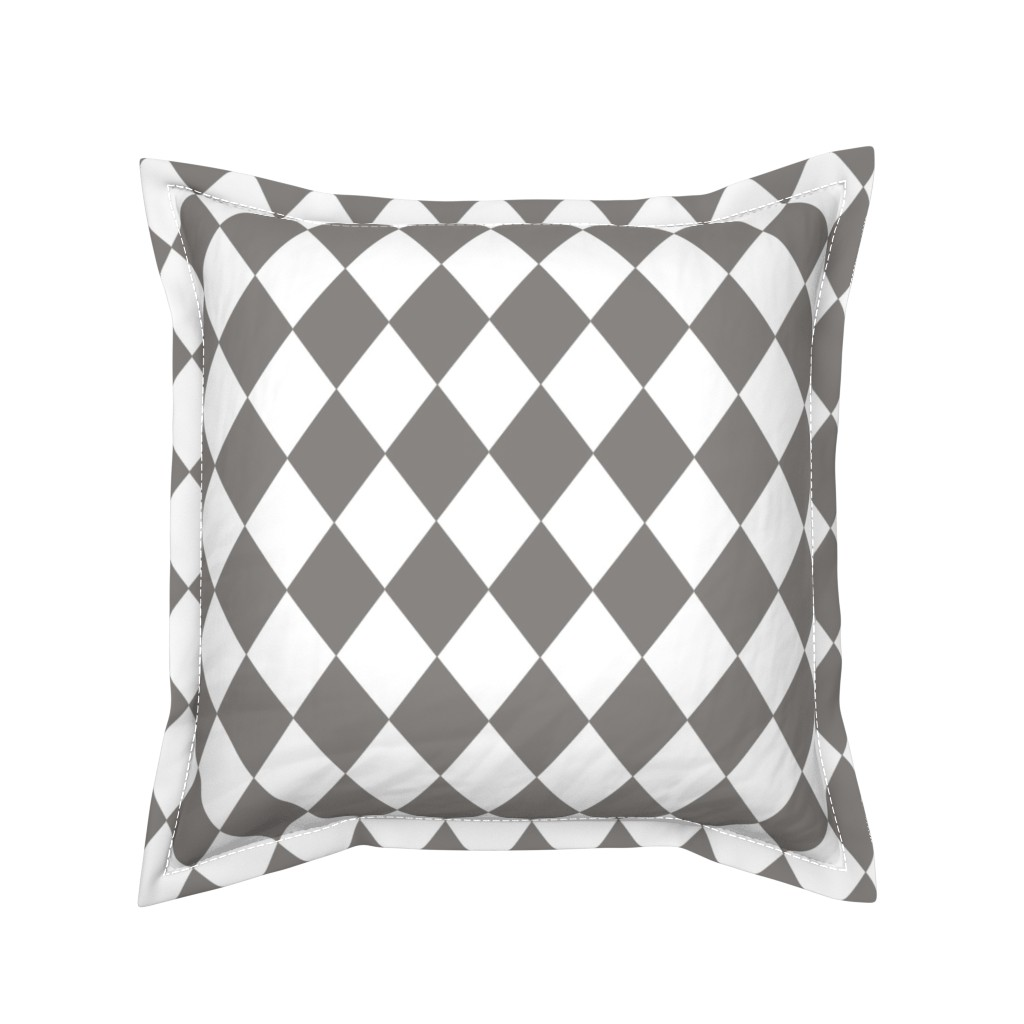 Serama Throw Pillow featuring Frost Gray Small Modern Diamond Pattern by paper_and_frill