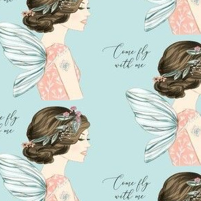 Come Fly with Me Fairy on Blue
