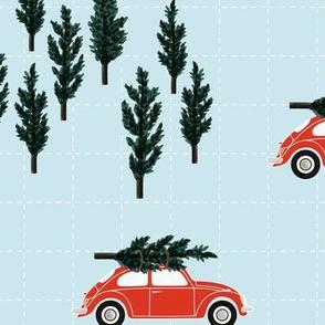 blue BG // red VW beetle christmas fabric tree on car truck theme