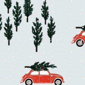 silver BG // red VW beetle christmas fabric tree on car truck theme