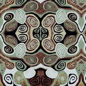 MINIMALIST SPIRALS-GREEN BROWN BLACK GRAY-MIRROR