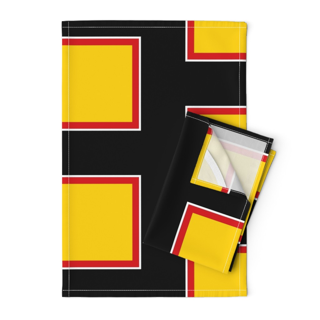 Orpington Tea Towels featuring Richmond Colors: Squares - Yellow Squares Black Red White Frames - LARGE by tallulahdahling