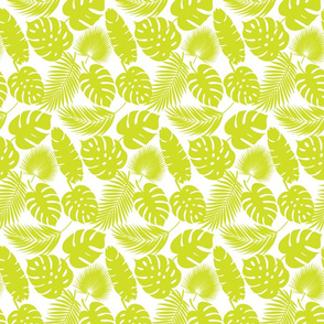 Tropical Leaves - Lime on White - Small
