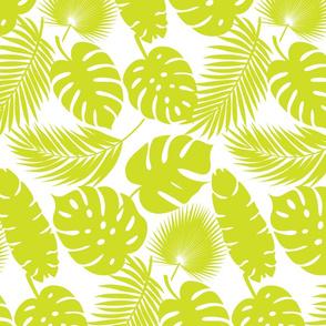 Tropical Leaves - Lime on White - Medium