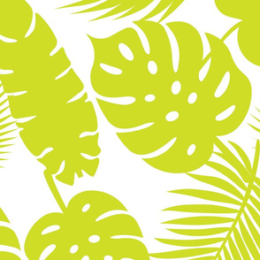 Tropical Leaves - Lime on White - Large