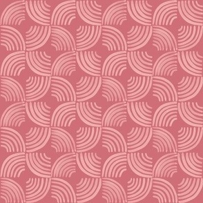 Quarter Circles Brush Strokes Geometric / Dark Pink