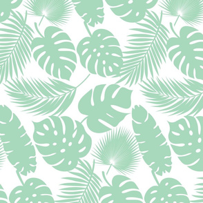 Tropical Leaves - Aqua on White - Medium