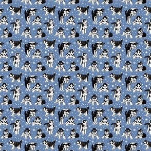 Husky puppies and snowflakes 4x4