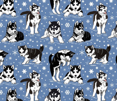 Husky puppies and snowflakes 12x12