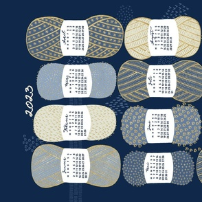 German 2021 Calendar, Monday / Knit Your Dream / Blue and Gold