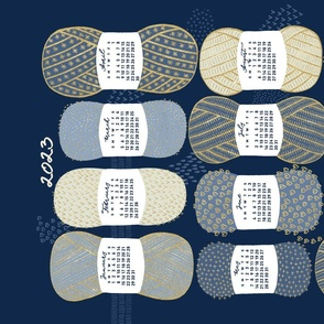 2022 Calendar, Sunday / Knit Your Dream / Blue and Gold