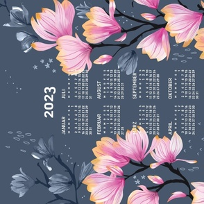 German 2021 Calendar, Monday / Magnolia Melancholy