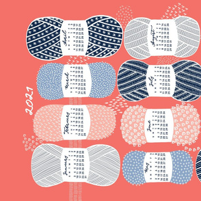 2021 Calendar, Sunday / Knit Your Dream / Coral