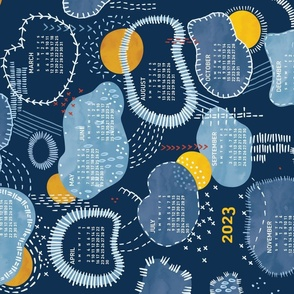 2022 Calendar, Sunday / Sashiko Clouds