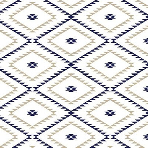 Southwestern Geometric - White / Navy / Beige - Small