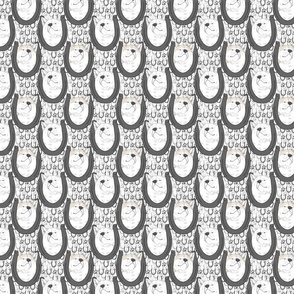 Small White Japanese Akita Inu horseshoe portraits