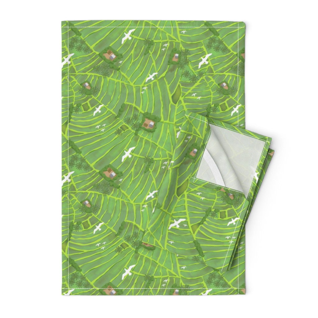 Orpington Tea Towels featuring Rice Fields Big Birds by vinpauld